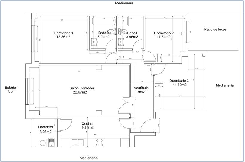 C lculo de la carga t rmica de calefacci n de una vivienda - Planos de viviendas unifamiliares ...